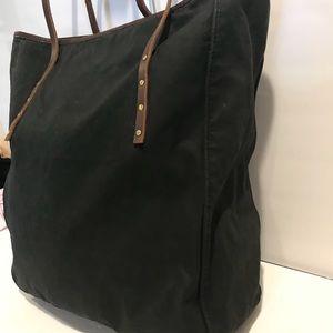 98b9f9abdc J. Crew Bags - J.Crew black canvas Leather straps tote bag